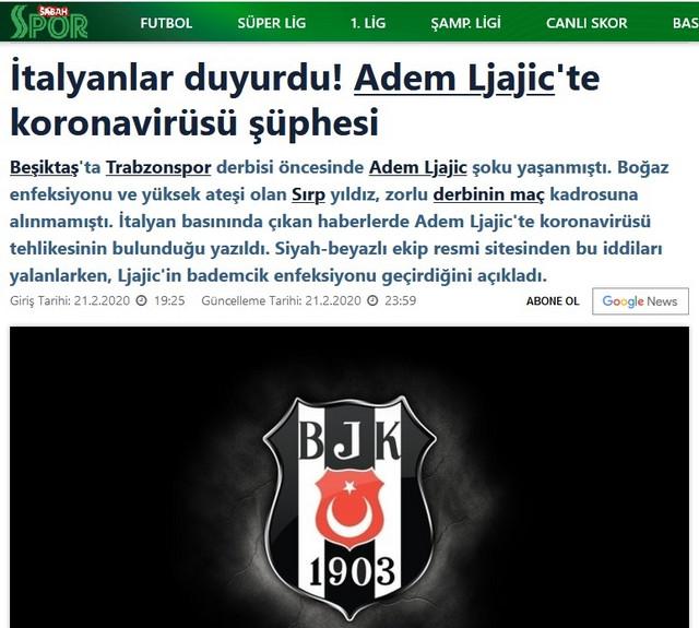 """Vest turskog """"Sabah"""" o navodima Italijana da je Adem Ljajić u karantinu zbog korona virusa i demantiju Bešiktaša"""