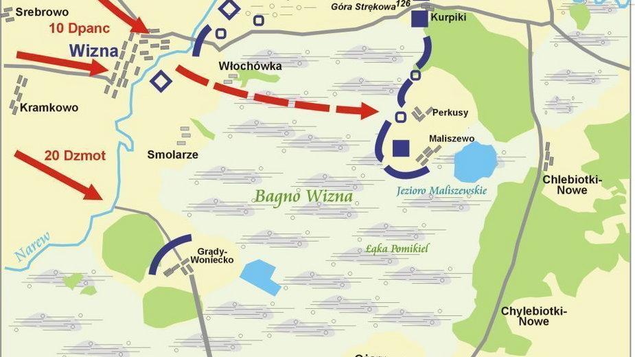 Bitwa pod Wizną 7-10 września 1939 r (aut. Lonio17, opublikowano na licencji Creative Commons Uznanie autorstwa–na tych samych warunkach 3.0 niezlokalizowana)