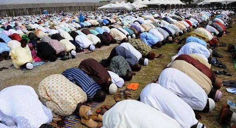 Muslims praying