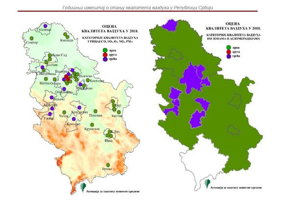 Mapa iz Godišnjeg izveštaja - kvalitet vazduha