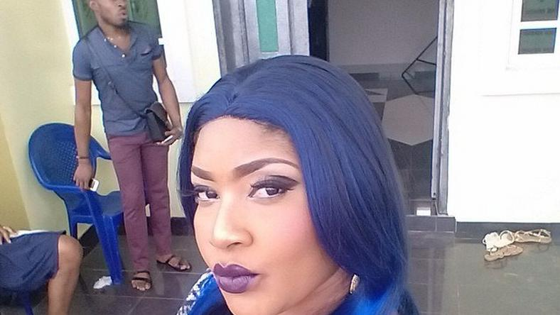 Nollywood actress, Angela Okorie, rocking blue hair