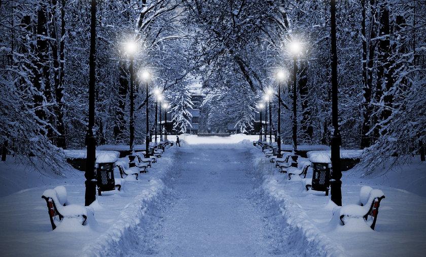 zima ilustracja pogoda mróz śnieg noc