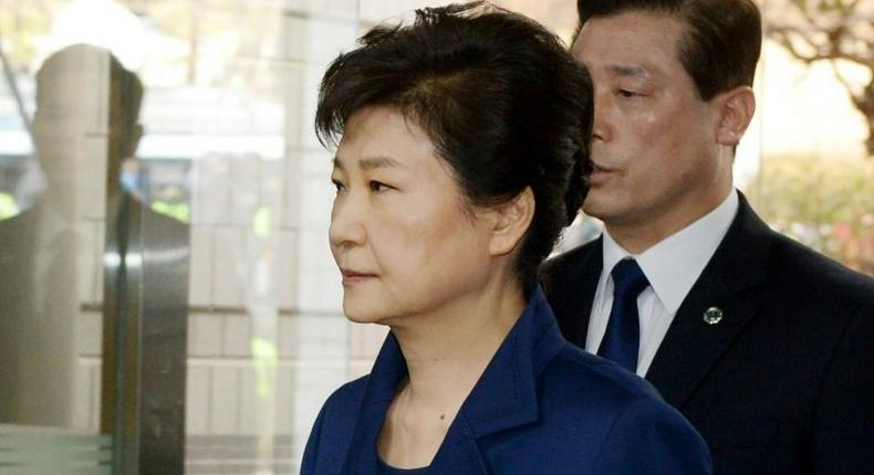 South Korea's ousted president Park Geun-Hye arrives for a court hearing.