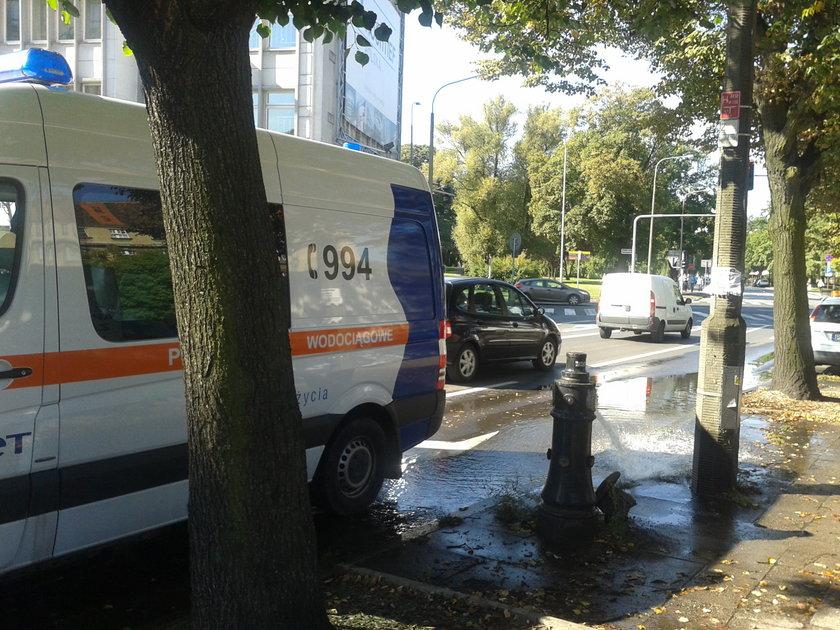 Awaria hydrantu w Poznaniu