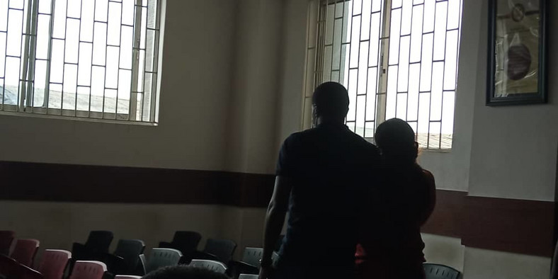 The actress was arraigned alongside her husband, JJC Skillz amid tight security.