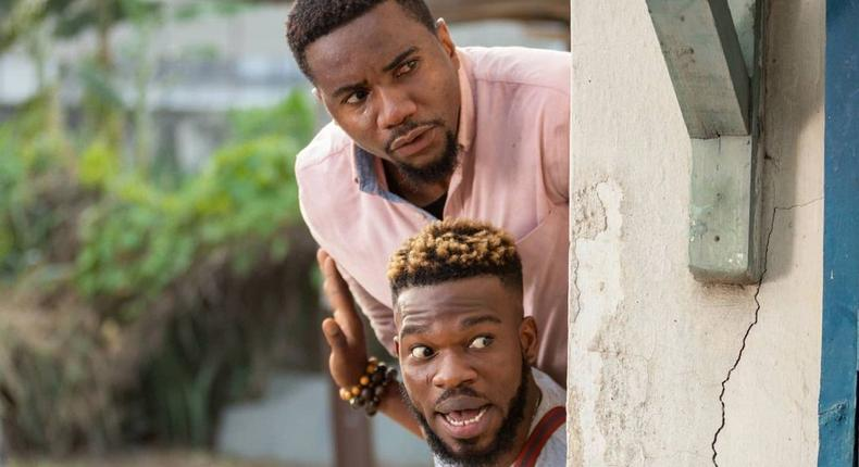 Jidekene Achufusi and Broda Shaggi in first look from 'Dwindle!' directed by Kayode Kasum and Dare Olaitan [Instagram/@kayodekasum]