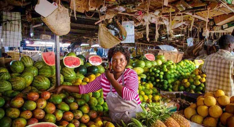 An Informal greengrocer popularly known as Mama Mboga selling her vegetables.