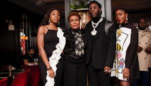 Nigerian music star Burna Boy, his mum, Bose Ogulu and his sisters [Instagram/NissiNation]