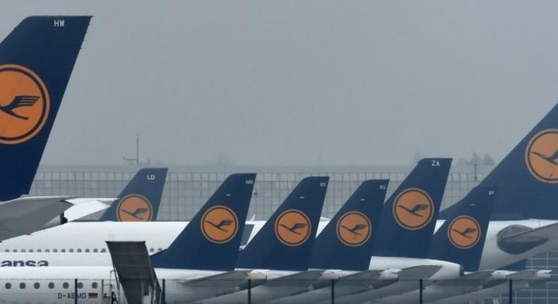 Lufthansa airplanes are parked at the Franz-Josef-Strauss airport, as pilots stayed away from work for a second straight day, forcing the airline to scrap 912 flights and grounding 115,000 more passengers on November 24, 2016