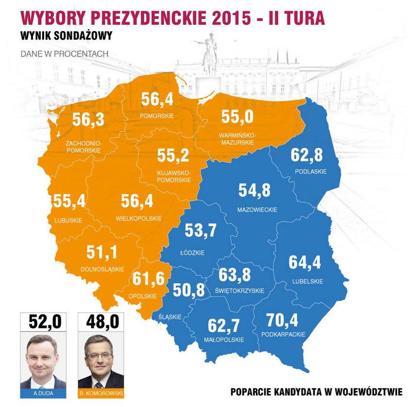 Mapa wybory prezydenckie 2015