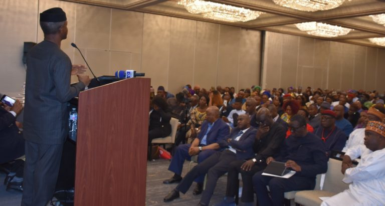 Vice President Yemi Osinbajo speaking at the townhall meeting [NAN]