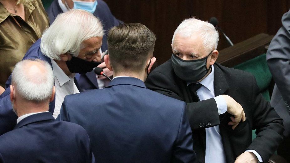 (po prawej) Jarosław Kaczyński w Sejmie