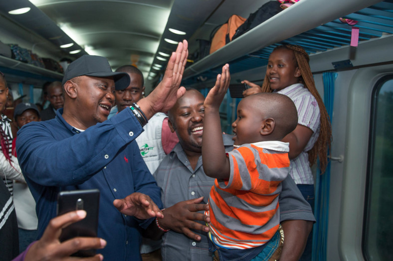 On 23rd December, accompanied by First Lady Margaret Kenyatta he boarded the Madaraka Express train from Nairobi to Mombasa to begin his Christmas holiday.