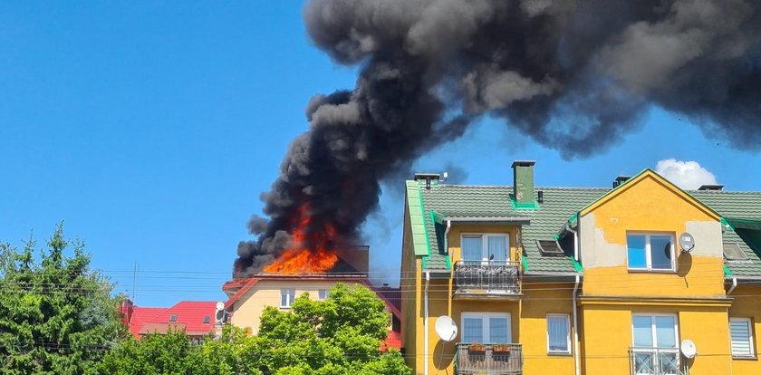Pożar domu w Zgierzu. Dach płonął jak pochodnia