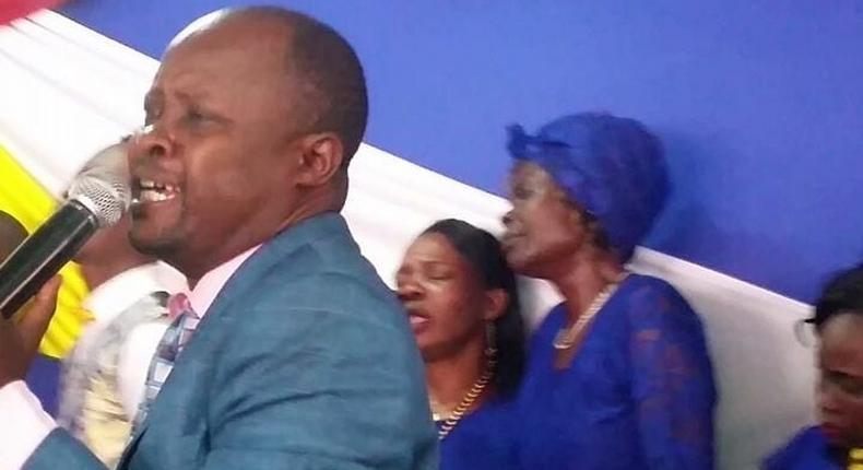 Bishop Evans Mayenyo Elegwa presiding over a service at Bahari Pentecostal Church in Mombasa