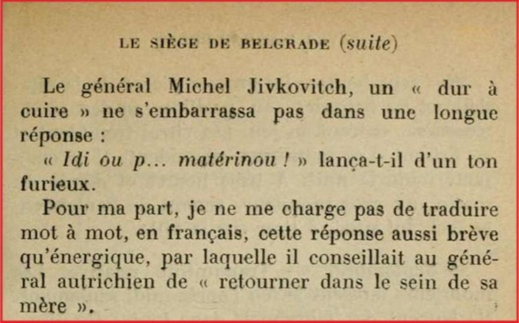 Odgovor generala Mihajla Živkovića austrougarskom generalu