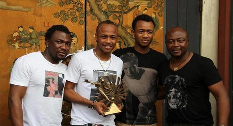 Abedi Pele on the extreme right with his sons, Jordan, Andre and Rahim in that order from the right.