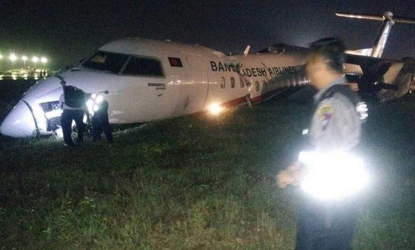 Samolot wypadł z pasa startowego