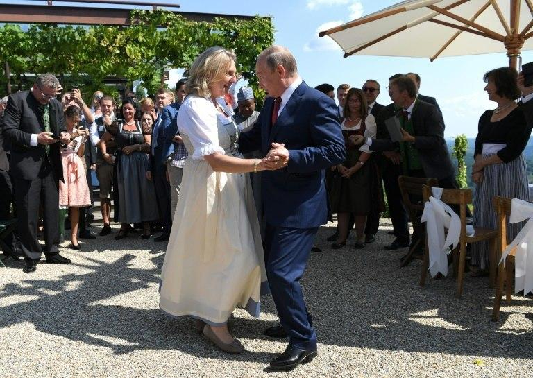 Austrian Foreign Minister Karin Kneissl caused controversy when she invited Russian President Vladimir Putin as a guest of honour to her wedding in August