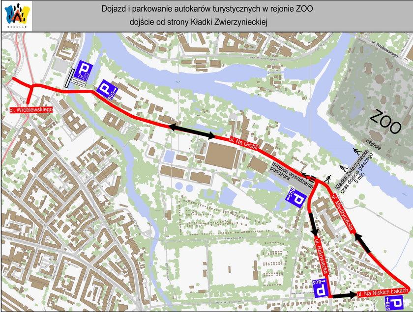 Mapka z parkingami we Wrocławiu na czas otwarcia Afrykarium