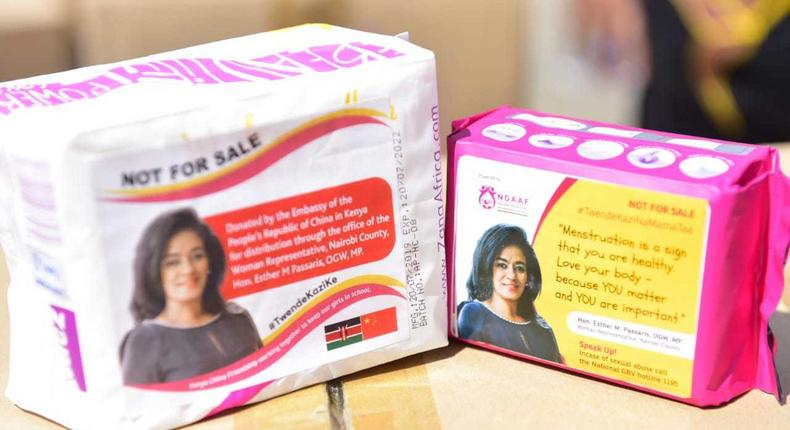 Nairobi Woman Rep Esther Passaris shamed for putting her photo on free sanitary pads