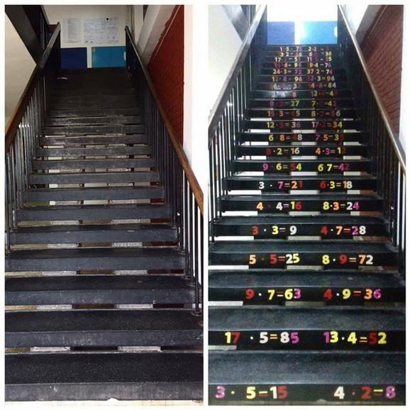 Stepenice koje je Predrag ukrasio s učenicima