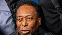 """Pele is """"punching the air"""" to celebrate his recovery Creator: NELSON ALMEIDA"""