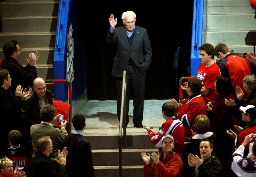 FILE PHOTO: Montreal Canadiens legend Henri Richard waves to the crowd during the NHL All-Star hocke