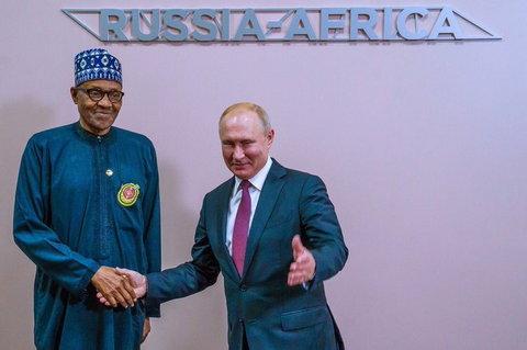 President Buhari and Vladmir Putin meet in Sochi, Russia (Tolu Ogunlesi, Presidency)