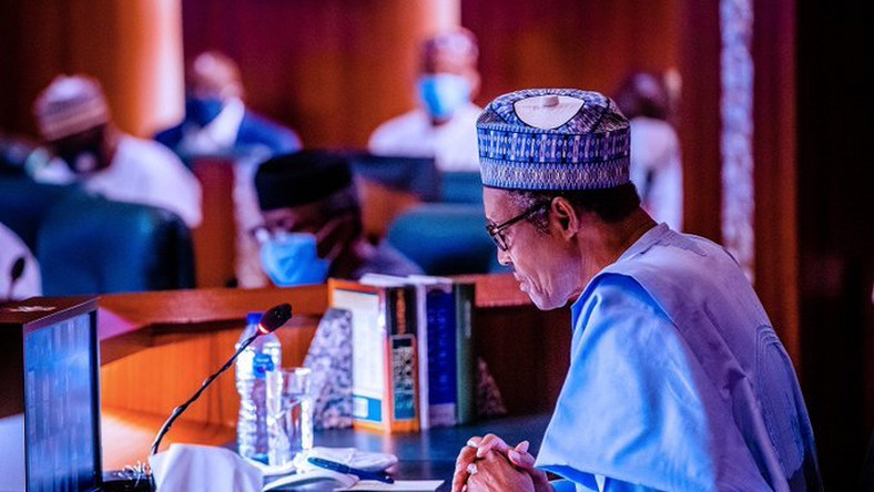 President Muhammadu Buhari at the National Executive Council meeting of the All Progressives Congress (APC) held at the Presidential Villa on Thursday, June 25, 2020. [Twitter/@BashirAhmaad]
