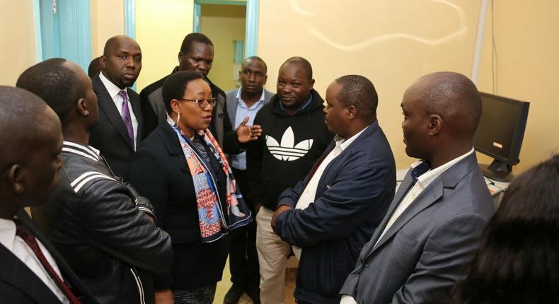 Health CS Sicily Kariuki speaks with Elgeyo Marakwet Governor Alex Tolgos
