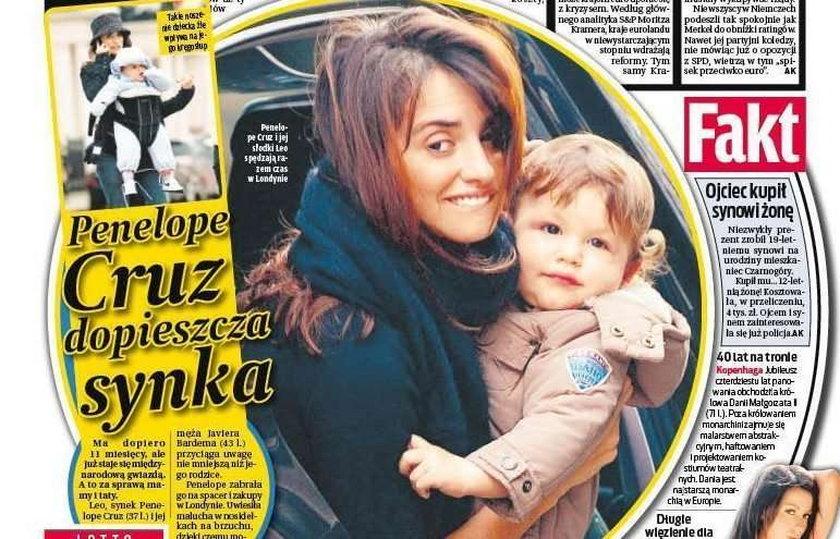 Penelope Cruz dopieszcza synka
