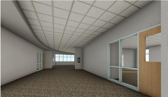 Škola je tako projektovana da su hodnici zakrivljeni, čime se takođe smanjuje linija vatre