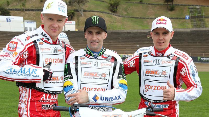 Krzysztof Kasprzak (L), Tomasz Gollob (C) i Jarosław Hampel (P)