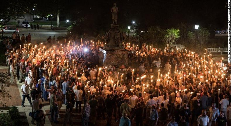 Protesters in Charlottesville