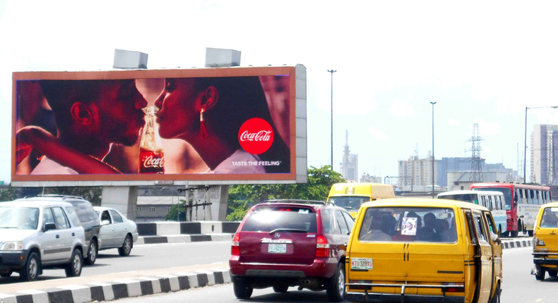 Coke billboard along Eko Bridge by Ijora used to illustrate the story