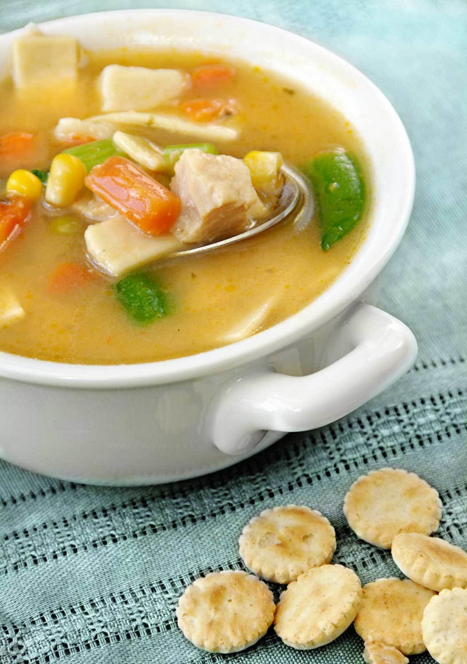 4460_+stock-photo-home-made-chicken-vegetable-and-noodle-soup-with-oyster-crackers-shutterstock_18389080