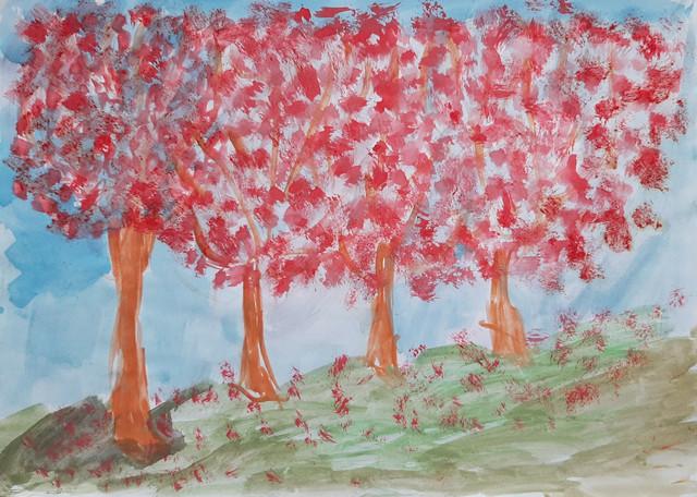 Crveni pejzaž, 2018, tempera na papiru, 21x29