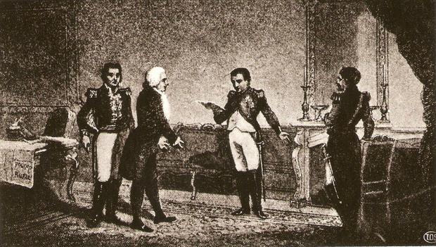 Spotkanie gen. Jana Henryka Dąbrowskiego i Józefa Wybickiego z cesarzem Napoleonem w Berlinie w 1806 r.
