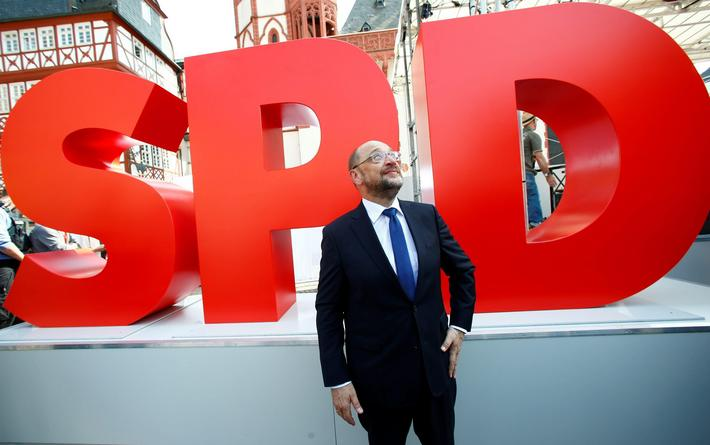 A badge of Germanys Social Democratic Party SPD candidate for chancellor Martin Schulz is seen at a