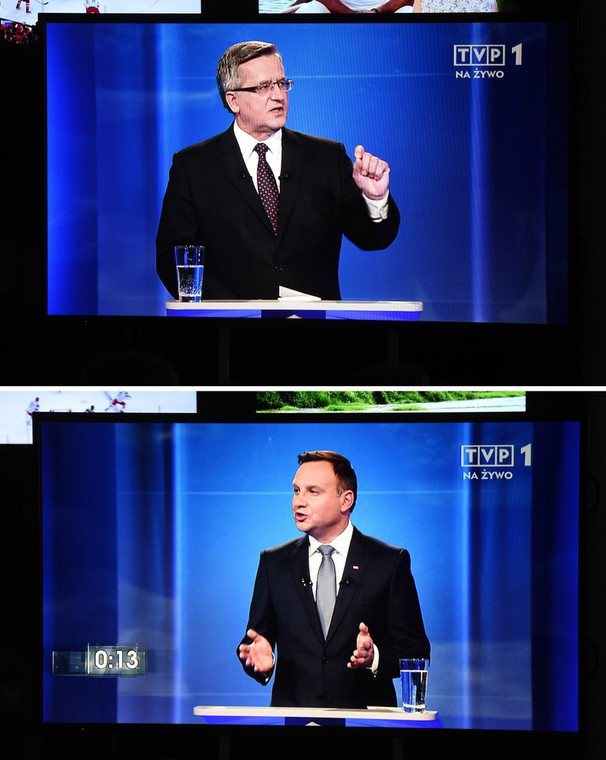 Bronisław Komorowski i Andrzej Duda w trakcie debaty prezydenckiej