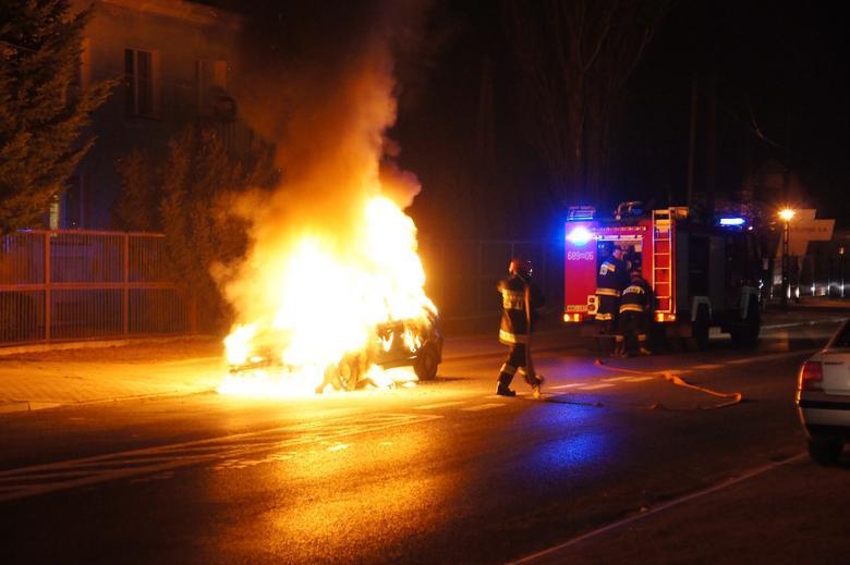 Pożar auta z LPG