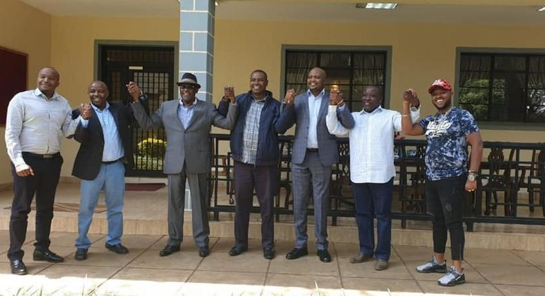 Moses Kuria after he led a group of Jubilee MPs in endorsing Wiper candidate Musili Mawathe in the upcoming Embakasi South by-election