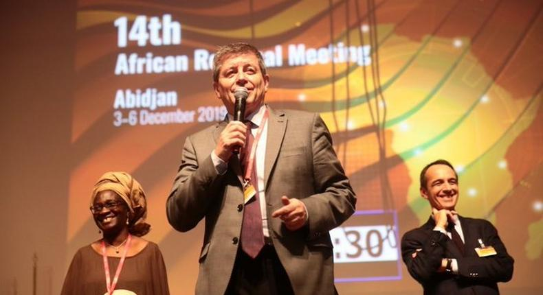 Guy Ryder, DG, International Labour Organization Director-General and other officials at the ILO Africa Regional Meeting in Abidjan. (Twitter/@ColonjuwonILO)
