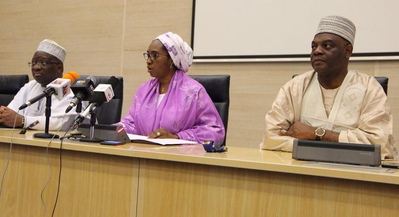 Nigeria's minister of finance, Zainab Ahmed and other ministry officials