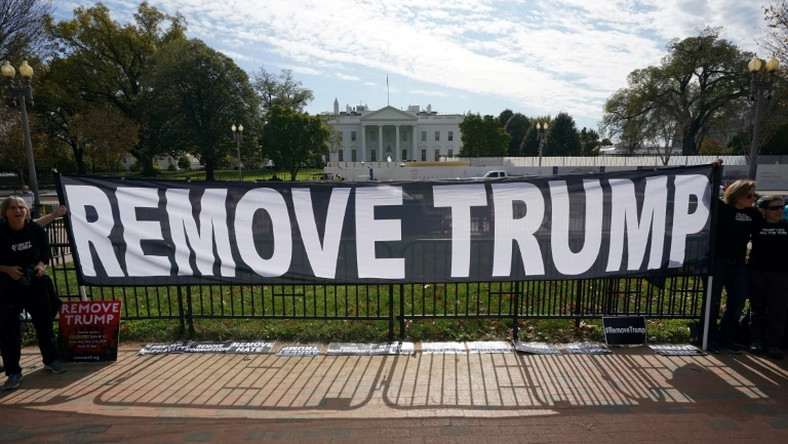 Activists hold a banner asking for the impeachment of US President Donald Trump on November 5, 2019 in front of the White House in Washington, DC