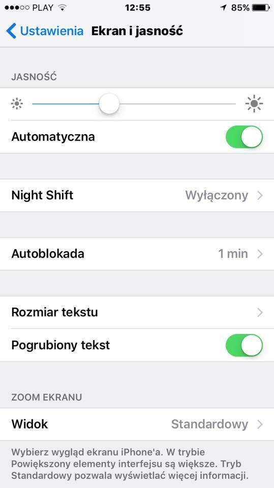 Jeden przycisk w iPhonie pogrubia tekst