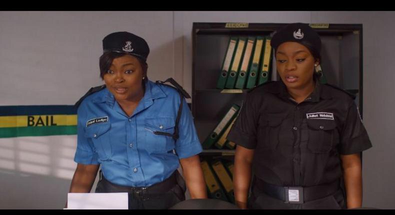Funke Akindele-Bello and Bisola Aiyeola in 'Dwindle!' [Instagram/@kayodekasum]