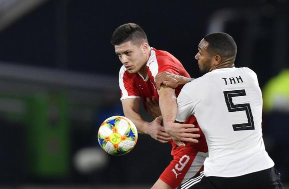 Luka Jović na meču Nemačka - Srbija