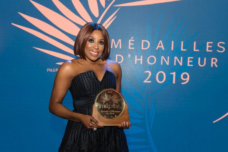 Mo Abudu joins three international TV CEOs that were awarded with the Médailles d'Honneur by MIPTV [ Twitter/MoAbudu]